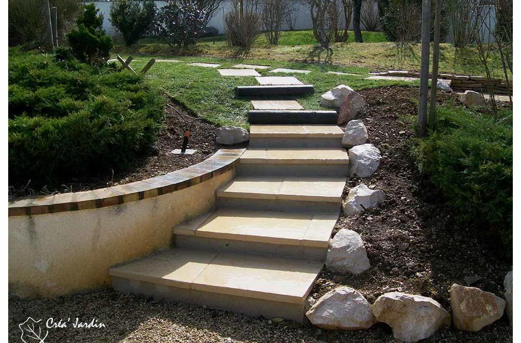 Escalier de jardin en dallage